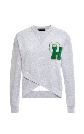 Medium ostwald helgason dark grey cross front initialed sweatshirt