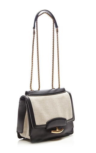 Gala Leather And Linen Shoulder Bag by NINA RICCI Now Available on Moda Operandi