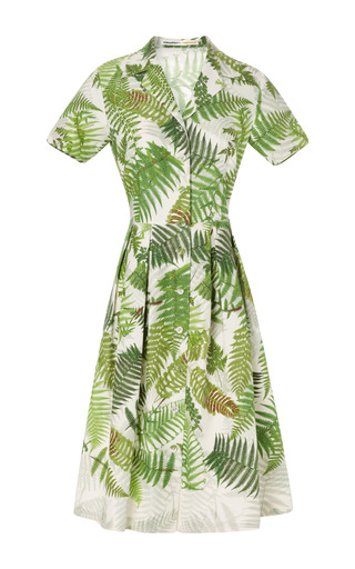 Gardens Fern Print Carmen Shirt Dress by CLEMENTS RIBEIRO for Preorder on Moda Operandi