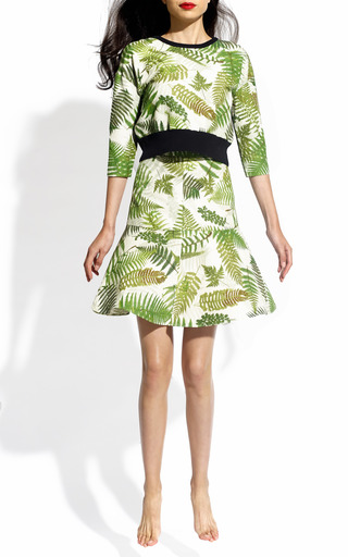 Amazonas Fern Print Crew Neck With Knitted Back by CLEMENTS RIBEIRO for Preorder on Moda Operandi