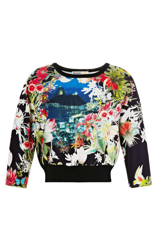 Medium clements ribeiro print postcard rio print crew neck with knitted back