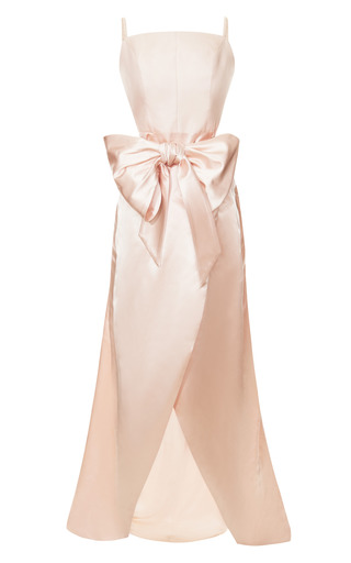 Medium katie ermilio pink cinched bow wrap gown