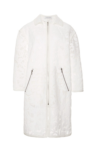 Bennett Floral Mesh Car Coat by TANYA TAYLOR for Preorder on Moda Operandi