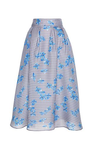 Medium tanya taylor blue madison gingham floral organza skirt