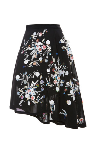 Medium tanya taylor black jolene embellished mesh skirt