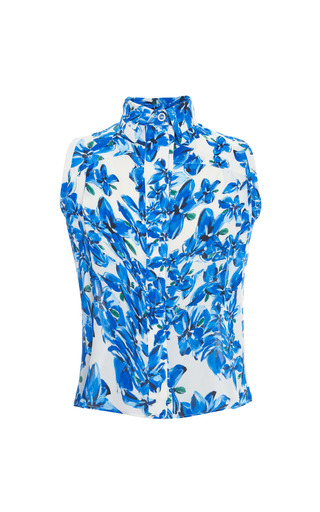 Medium tanya taylor blue shirley floral georgette button up