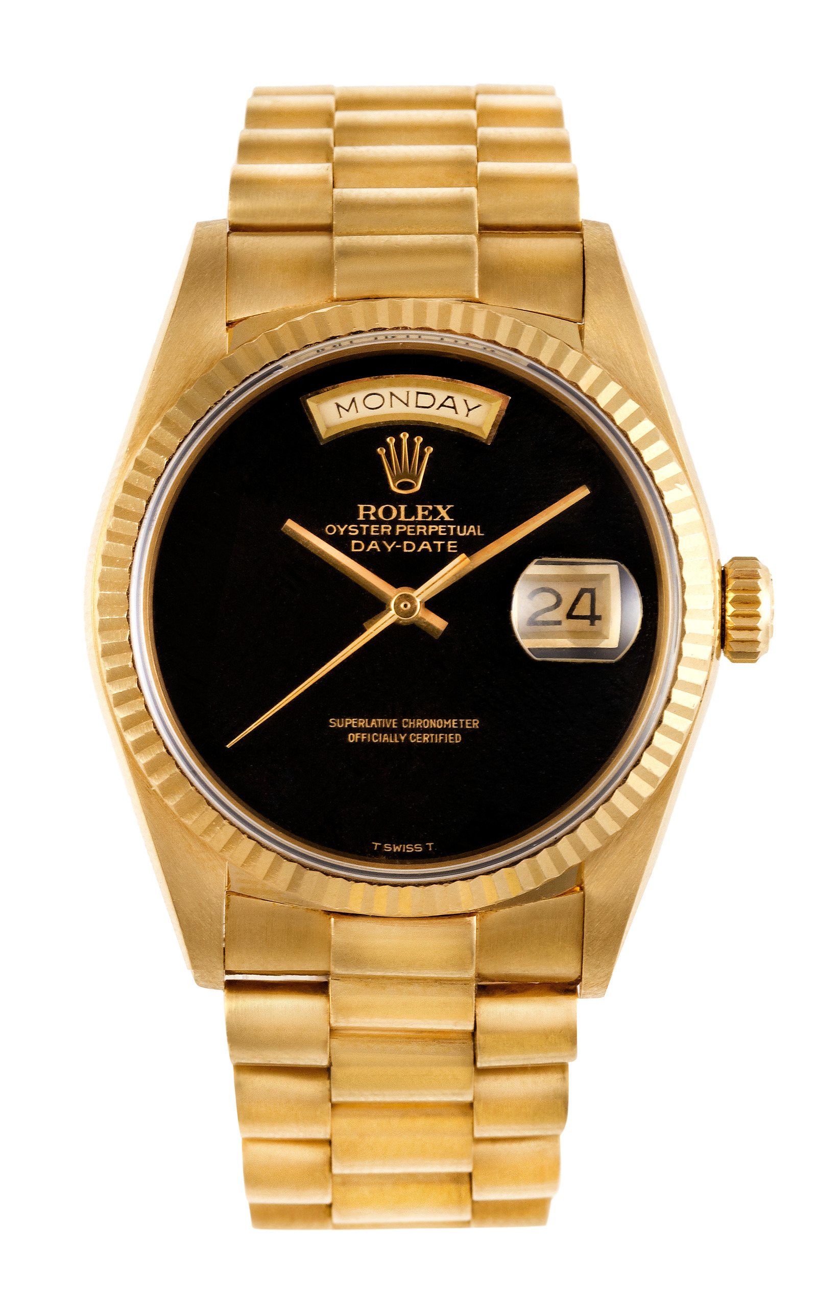 rolex 18k yellow gold day date president with black moda
