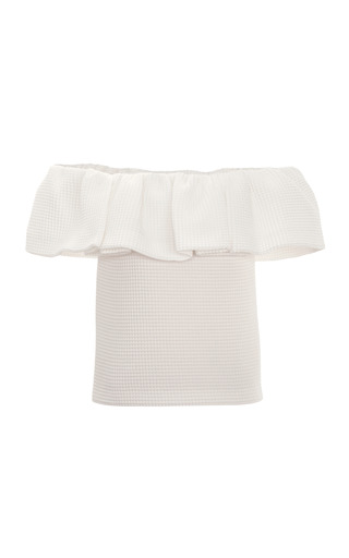 Medium mother of pearl ivory siret ruffled bandeau top