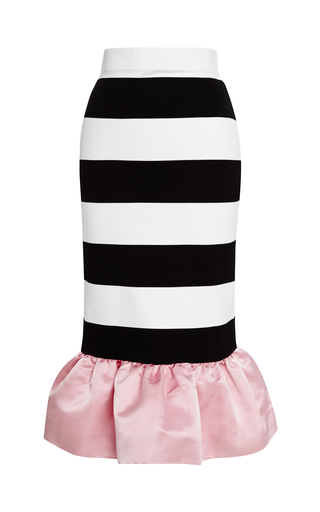 Medium mother of pearl pink kymi ruffle hem striped jersey skirt