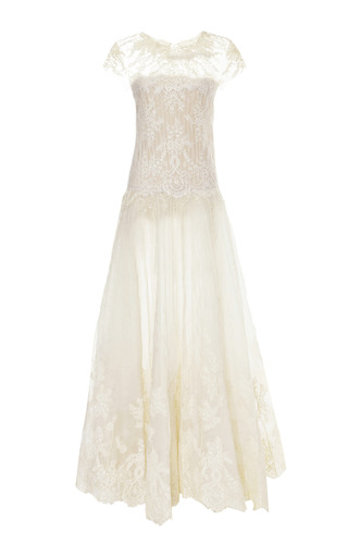 Medium marchesa off white engineered lace gown with pearl embroidery