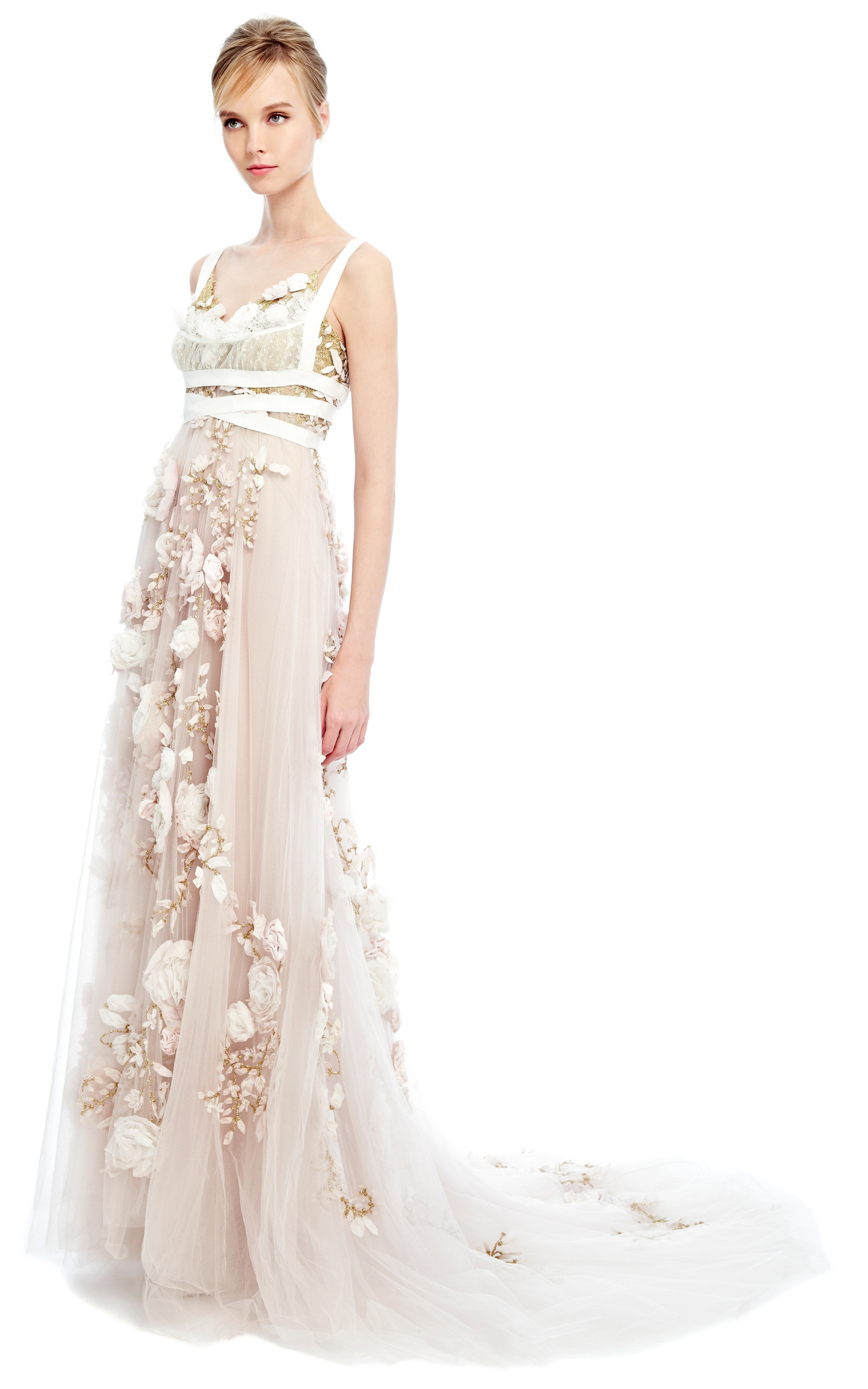 73aee25d 3D Silk Ribbon Rose Empire Waist Gown by Marchesa | Moda Operandi