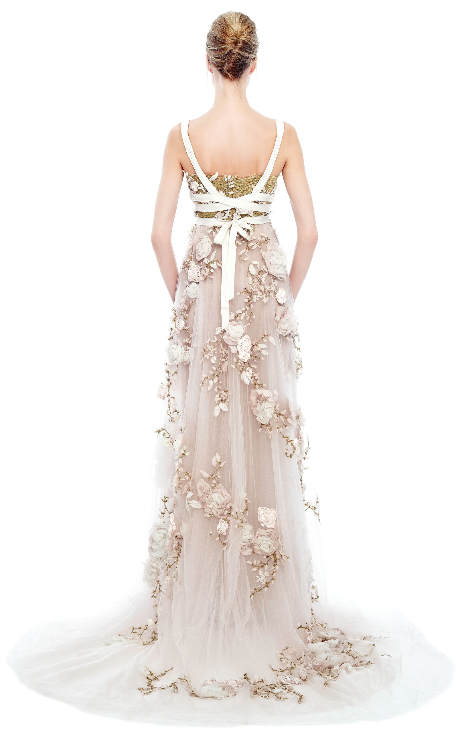 3d Silk Ribbon Rose Empire Waist Gown By Marchesa Moda
