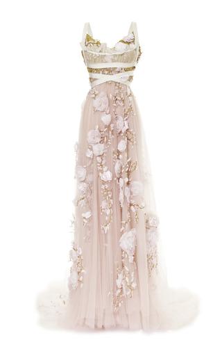 Medium marchesa pink 3d silk ribbon rose empire waist gown