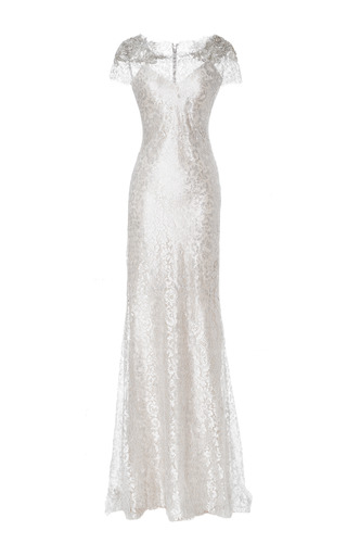 Medium marchesa silver silver metallic lace column gown