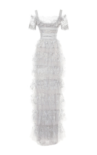 Medium marchesa silver tiered metallic lace empire waist gown