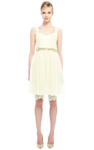 Daffodil Chantilly Lace And Tulle Cocktail Dress by MARCHESA for Preorder on Moda Operandi