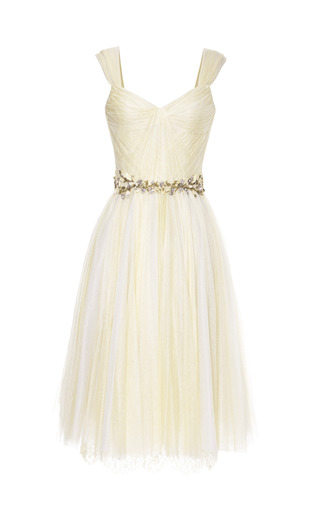 Medium marchesa yellow daffodil chantilly lace and tulle cocktail dress