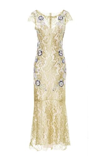 Medium marchesa gold gold metallic lace cocktail dress