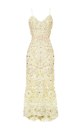 Crystal And Chenille Ribbon Embroidered Cocktail Dress by MARCHESA for Preorder on Moda Operandi