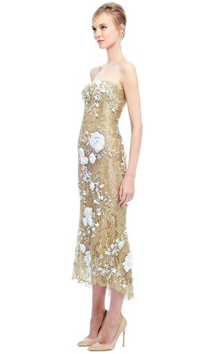 Strapless Metallic Lace Cocktail Dress by MARCHESA for Preorder on Moda Operandi