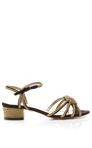 Medium charlotte olympia gold its knot you its me knotted rope leather sandals