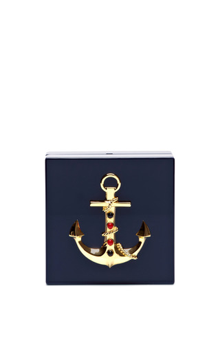 Medium charlotte olympia navy cast away perspex clutch