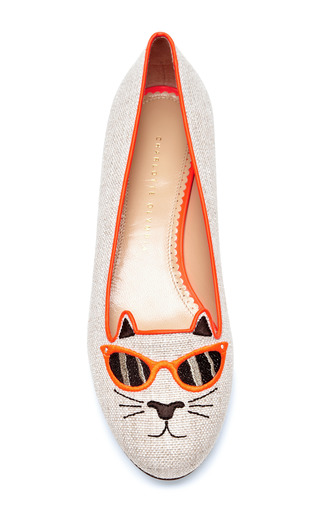 Sunkissed Kitty Embroidered Canvas Flats by CHARLOTTE OLYMPIA Now Available on Moda Operandi