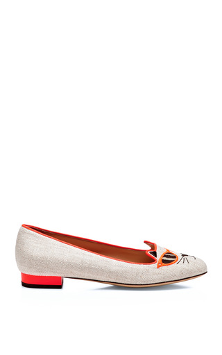 Medium charlotte olympia coral sunkissed kitty embroidered canvas flats