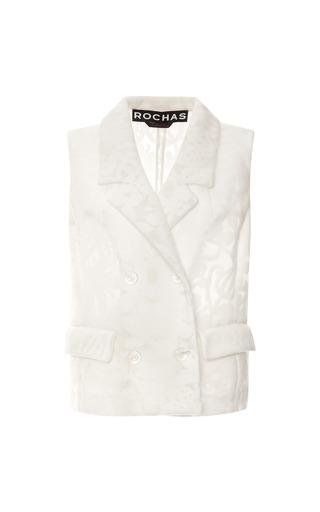 Medium rochas white jersey jacquard devore vest