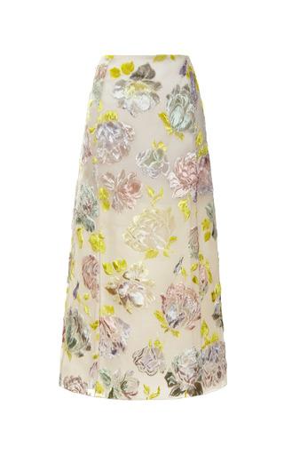 Medium rochas white hand painted velvet jacquard skirt