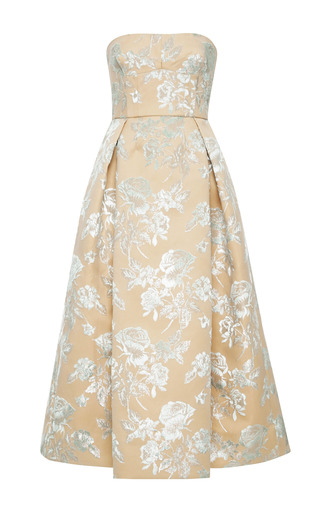 Medium rochas green floral bonded duchesse satin dress
