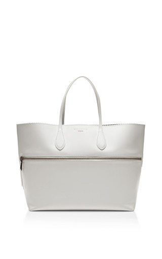 Medium rochas white zipper detail leather tote