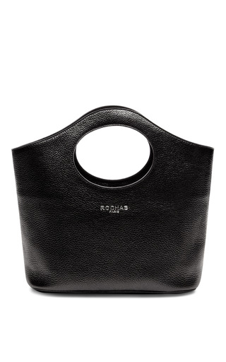 Medium rochas black grained leather tote 2