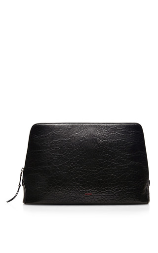 Medium rochas black textured leather zip top clutch 2