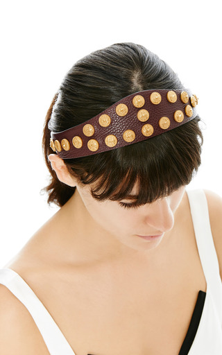 Gryphon Studded Leather Headband by VALENTINO Now Available on Moda Operandi