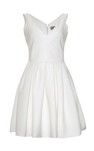 Medium preen white flora stretch crepe v neck dress
