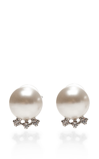 Medium tom binns silver certain ratio faux pearl and crystal earrings
