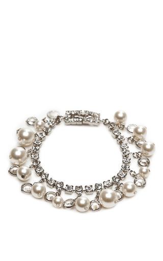 Medium tom binns silver regal faux pearl and crystal bracelet