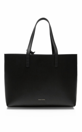 Medium mansur gavriel black small coated interior leather tote
