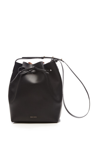 Medium mansur gavriel black small coated interior leather bucket bag