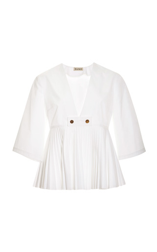 Medium suno white pleated v neck boxy top