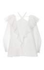 Ruffled Cotton And Silk Blend Top by VIKA GAZINSKAYA Now Available on Moda Operandi