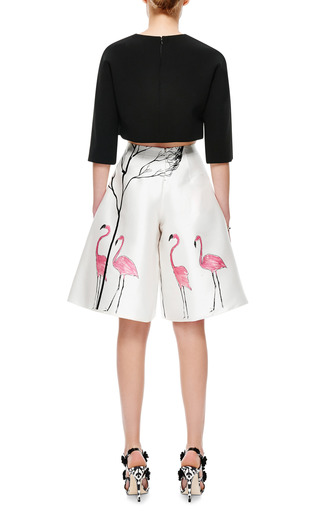 Flamingo Print Satin Culottes by VIKA GAZINSKAYA Now Available on Moda Operandi