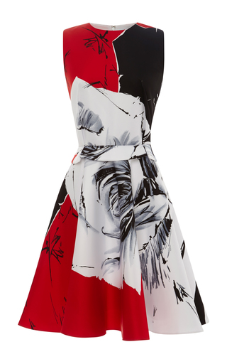Medium prabal gurung black rose print flared satin dress