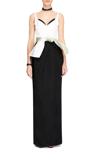 Color Block Satin And Chiffon Gown by PRABAL GURUNG Now Available on Moda Operandi