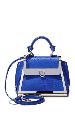 Medium salvatore ferragamo blue mini sofia in bright blue