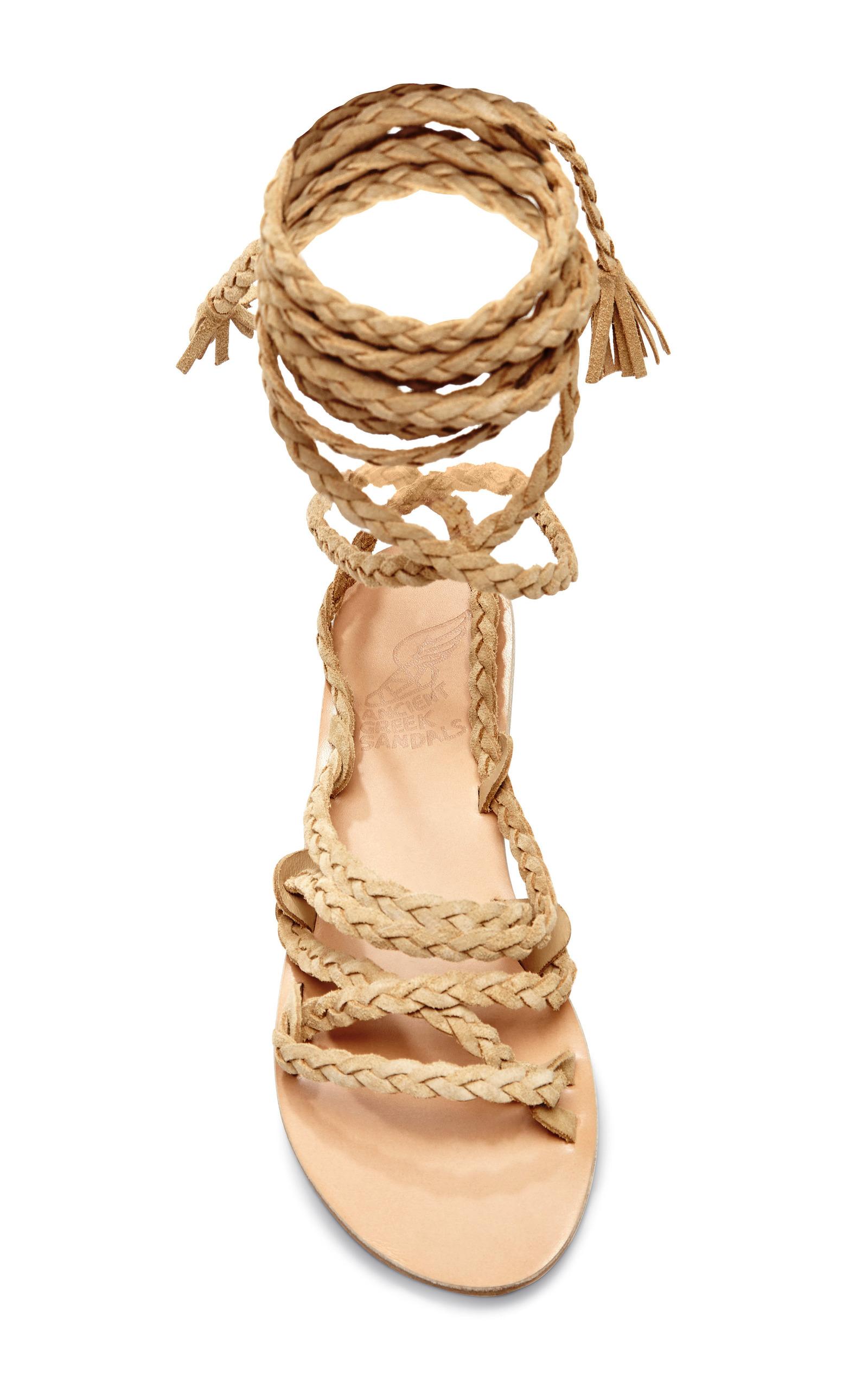 Kariatida Braided Strap Suede Sandals By Ancient Greek