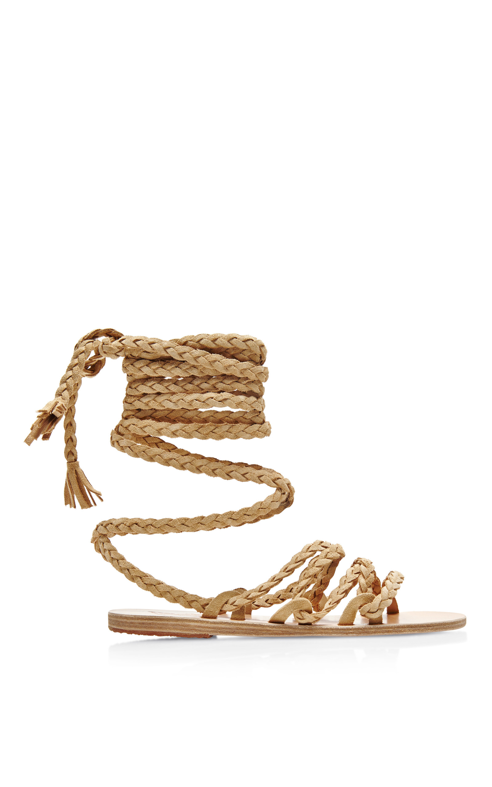 c2c8d14cd9f86 Kariatida Braided Strap Suede Sandals