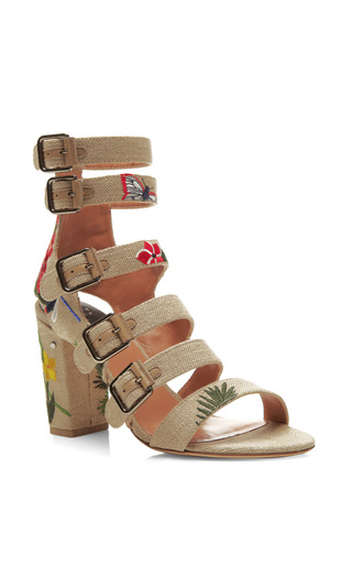Dana Floral Embroidered Linen Sandals by LAURENCE DACADE Now Available on Moda Operandi