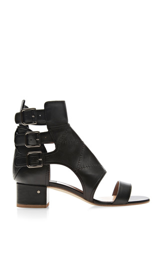 Medium laurence dacade black flo triple buckle leather sandals